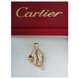 Cartier-Pendentif panthère molle, or et diamants, Cartier-Doré