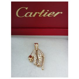 Cartier-Soft panther pendant, gold and diamonds, cartier-Golden