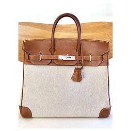 Hermès-Birkin Hermès 30 cm Toile et cuir barénia-Marron
