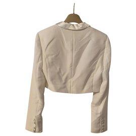 Alexis Mabille-Alexis Mabille white tuxedo short jacket for Monoprix-Eggshell