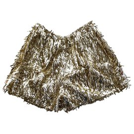 Dsquared2-Short à paillettes d'or-Blanc,Doré