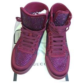 Gucci-Gucci High sSneakers-Dark red