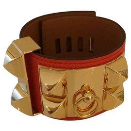 Hermès-Bracelet Hermès collier de chien-Orange,Corail