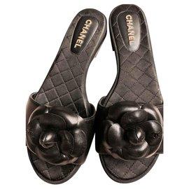 Chanel-Chanel black leather slides slippers sandals EU37-Black