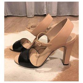 Chanel-Chanel black and nude heels EU38-Black,Beige