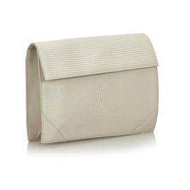 Yves Saint Laurent-Pochette YSL en cuir blanc-Blanc