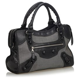Balenciaga-Balenciaga Gray Motocross Canvas Giant City Satchel-Black,Other,Grey