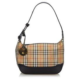 Burberry-Burberry Brown Haymarket Check Canvas Shoulder Bag-Brown,Multiple colors,Beige