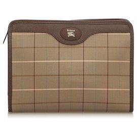 Burberry-Burberry Brown Plaid Canvas Clutch Bag-Brown