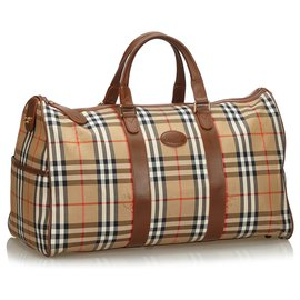 Burberry-Burberry Brown Haymarket Canvas Travel Bag-Brown
