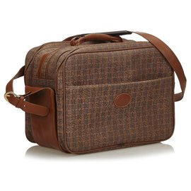 Burberry-Burberry Brown Coated Canvas Travel Bag-Brown
