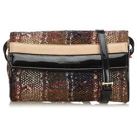 Burberry-Burberry Brown Plaid Wool Crossbody Bag-Brown,Multiple colors,Beige