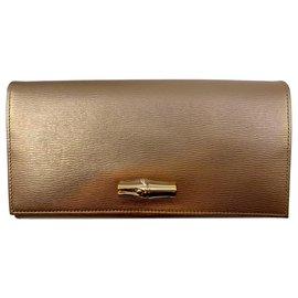 Longchamp-Roseau Wallet-Golden