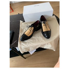Céline-Pair of black and gold patent leather derbies Céline-Black