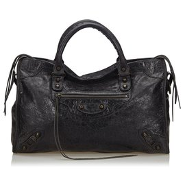 Balenciaga-Balenciaga Black Motocross Leather City Bag-Black