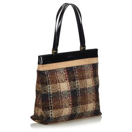 Burberry-Burberry Brown Wool Tote Bag-Brown,Multiple colors