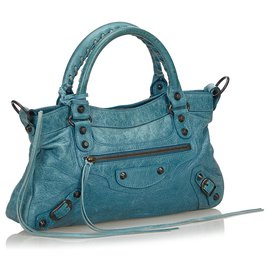 Balenciaga-Balenciaga Blue Leather Motocross Classic First Satchel-Blue