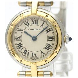 Cartier-Cartier en acier inoxydable et or 18K Panthere ronde en or jaune avec quartz 166920-Argenté,Doré