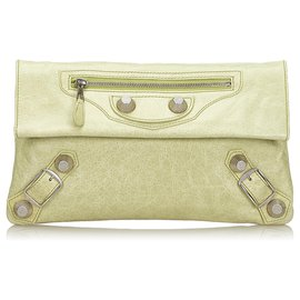 Balenciaga-Balenciaga Green Motocross Giant 21 Envelope Clutch Bag-Green,Light green