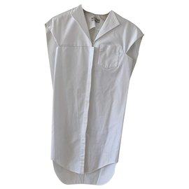 Balenciaga-Mini robe chemise blanche Balenciaga-Blanc