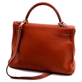 Hermès-Hermes Kelly bag returned Handle  32 calf leather calf squirrel Square G gold plating-Hazelnut