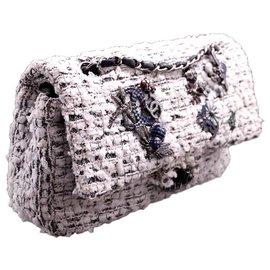 Chanel-Chanel sac Classique 2.55 collector bucolique en tweed noir & blanc métallerie argentée-Autre