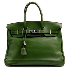 Hermès-HERMES BIRKIN bag 35 olive green Evergrain calf leather Square M silver metal-Green