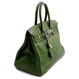 Hermès-Hermès sac Birkin 35 en cuir de veau Evergrain vert olive Square M métallerie argentée-Vert
