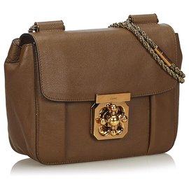 Chloé-Chloe Brown Leather Elsie Shoulder Bag-Brown,Dark brown