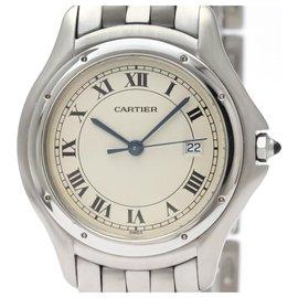 Cartier-Quartz Cougar Quartz d'acier inoxydable de Cartier 987904-Argenté,Blanc