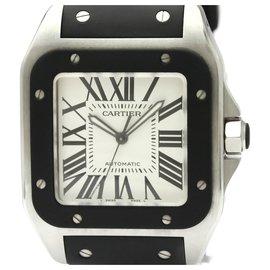Cartier-Cartier Santos en acier inoxydable noir 100 Automatique W20121U2-Noir,Blanc