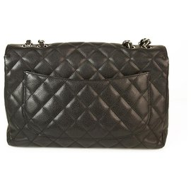 Chanel-CHANEL Black Caviar Leather Classic Flap Jumbo Bag with Silver tone hardware-Black