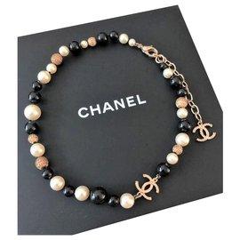 Chanel-Collier tour de cou perles et perles Chanel-Multicolore