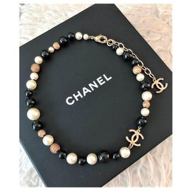 Chanel-Chanel beads and pearl choker necklace-Multiple colors