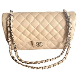 Chanel-Classic Timeless-Silvery,Beige