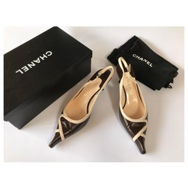 Chanel-Chanel brown and beige strappy slingbacks. fr 37-Brown