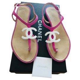 Chanel-Sandals-Pink,White
