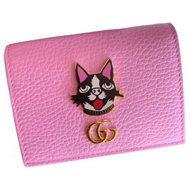 Gucci-Pink card wallet with Bosco patch-Pink