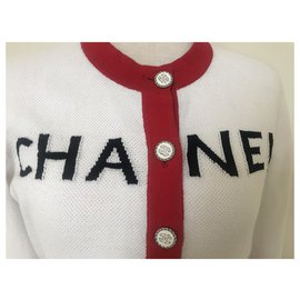 Chanel-Chanel 2019 Red White Cardigan-White