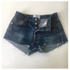 Autre Marque-Short en jean Forte Couture-Bleu