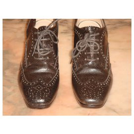 Dries Van Noten-Derbies en cuir gaufré-Marron