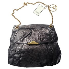 Temperley London-REPTLE PRINT PLEATED METTALIC LEATHER BAG-Grey,Metallic