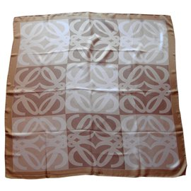 Loewe-Écharpe en soie monogram-Beige