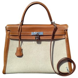 Hermès-Hermès Kelly handbag 35 Canvas and Leather Barenia Phw-Beige,Caramel