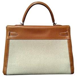 Hermès-Sac à main Hermès Kelly 35 en toile et Cuir Barenia Phw-Beige,Caramel