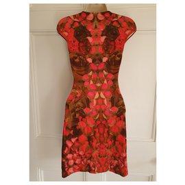 Alexander Mcqueen-Petal print bodycon dress-Pink,Red