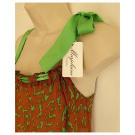 Autre Marque-Marjolaine Chemise en soie à imprimé animal.-Marron,Vert