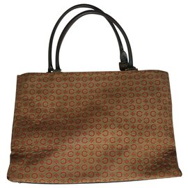 Céline-Vintage Cloth and leather tote-Red,Olive green