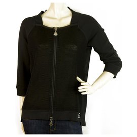 Moncler-Moncler Maglia Cardigan Black central Zipper with thick mesh jacket S-Black