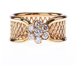 Van Cleef & Arpels-Van Cleef & Arpels 18K Yellow Gold Diamond Fleurette Ring-Jaune